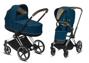 Wózek wielofunkcyjny 2w1 Cybex Priam 2.0 Mountain Blue Chrome Brown